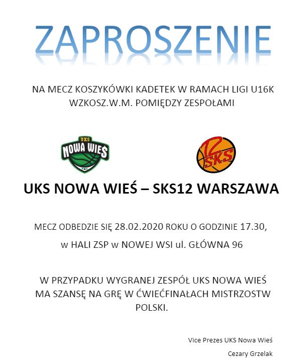 UKS Nowa Wieś – SKS12 – kadetki walczą o ćwierćfinał MP